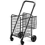 Goplus Folding Shopping Cart Jumbo Double Basket Perfect for Grocery Laundry Book Luggage Travel with Swivel Wheels (Black)