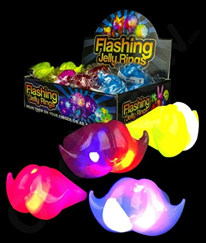 LED Light Up Flashing Jelly Party Favor Rings - Various Styles by Mammoth Sales (Mustache)]()