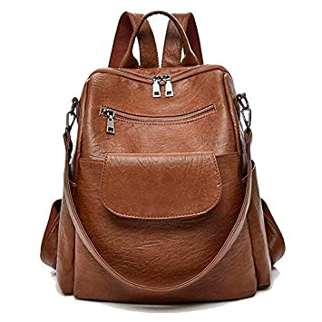 f5328df871 Amazon.com  Women fashion brown washed pu leather designer backpack best  waterproof bookbag shoulder bag travel rucksack purse (Brown PU )   Different ...