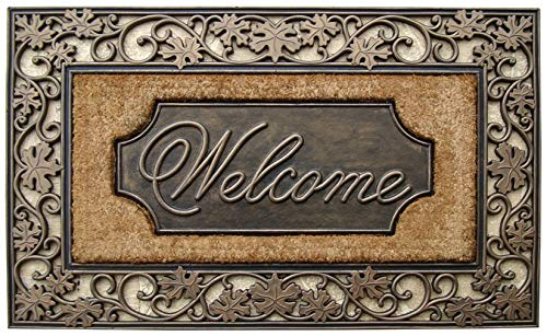 "A1 Home Collections Doormat A1HC First Impression Rubber and Coir Dirt Trapper Heavy Weight 18"" X30, 18"" X 30"", Floral Welcome"