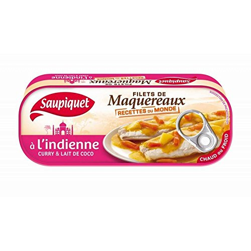 Saupiquet - Filetes De Caballa Indio Curry Y Leche De Coco 3X169G - Filets De Maquereaux