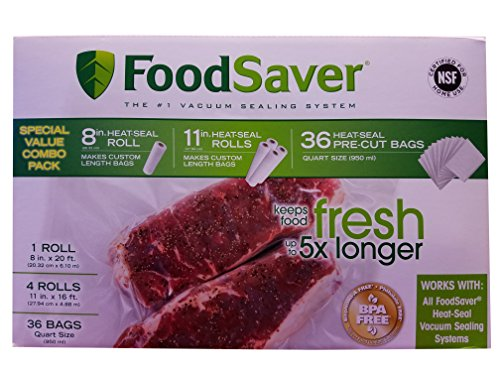 "FoodSaver Special Value Vacuum Seal Combo Pack 1-8""Roll; 4-1"