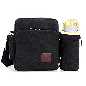 U-TIMES Unisex Small Canvas Single Shoulder Bag Tablet Daypack with Water Bottle Holder(Black)