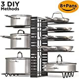 Pot Rack Organizer, Height and Position are Adjustable 8+ Pots Holder, Black Metal Kitchen Cabinet Pantry Pot Lid Holder
