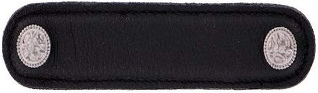 4-Inch Vicenza Designs K1166 San Michele Pull with Black Leather Strap Oil-Rubbed Bronze