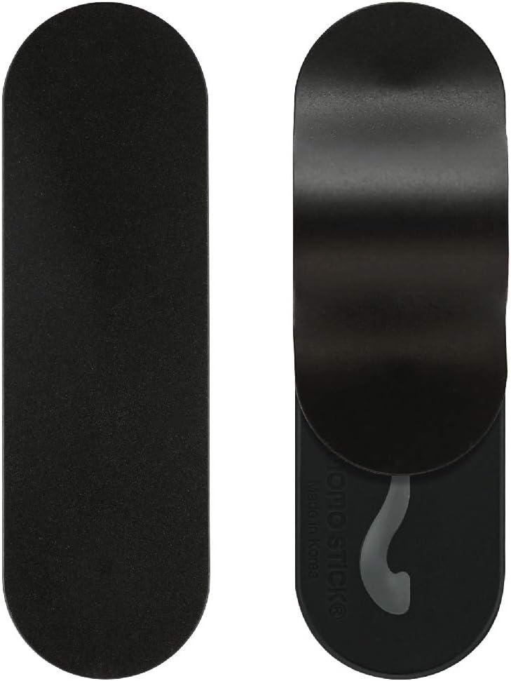 MOMOSTICK_FLAT STICK : Phone Grip/Stand/Holder | Wireless Charging | Apply (Google) Pay | New Finger Grip for All Smartphones - Black Matte