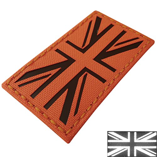 (IR Fluorescent Orange Infrared SAR UK Union Jack Flag Search Rescue 3.5x2 Tactical Morale Touch Fastener Patch)