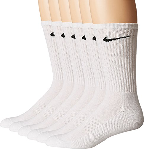 - NIKE Unisex Performance Cushion Crew Socks with Bag (6 Pairs), White/Black, Medium