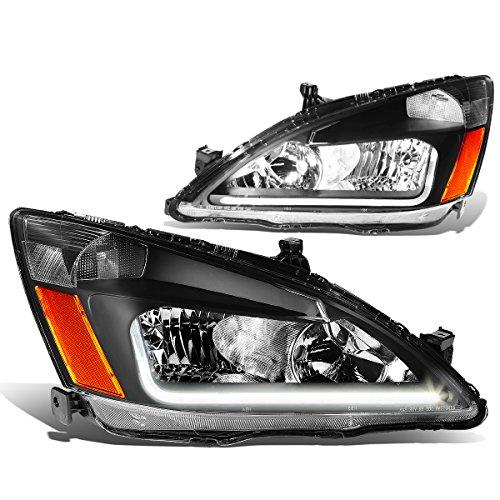 For Honda Accord 7th Gen UC1 Pair of Black Housing Amber Corner Headlights + LED DRL