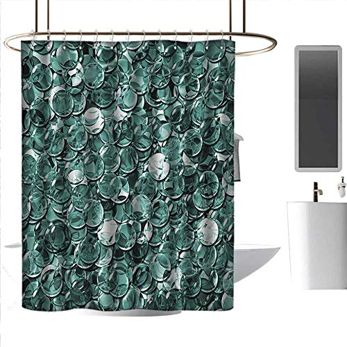 homehot Shower Curtains Sets Gray Pearls,Crystal Clear Balls Coins Pattern Never Ending Liquid Objects Monochrome Design Print,Teal,W108 x L72,Shower Curtain for Men