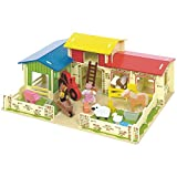 Bigjigs Toys Heritage Playset Meadow Farm - 16 Play Pieces