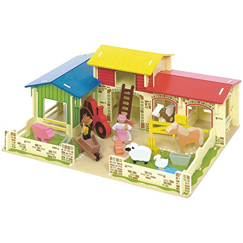 Bigjigs Toys Heritage Playset Meadow Farm - 16 Play Pieces by Bigjigs Toys