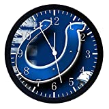 Colts Black Frame Wall Clock 10'' Will Be Nice Gift and Home Office Wall Decor W25
