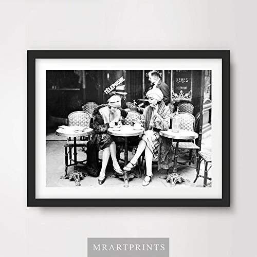 VINTAGE 1920s PARIS CAFE ART PRINT POSTER Restaurant Coffee Black White Home Decor Interior Design Wall Picture A4 A3 A2 (10 Sizes)