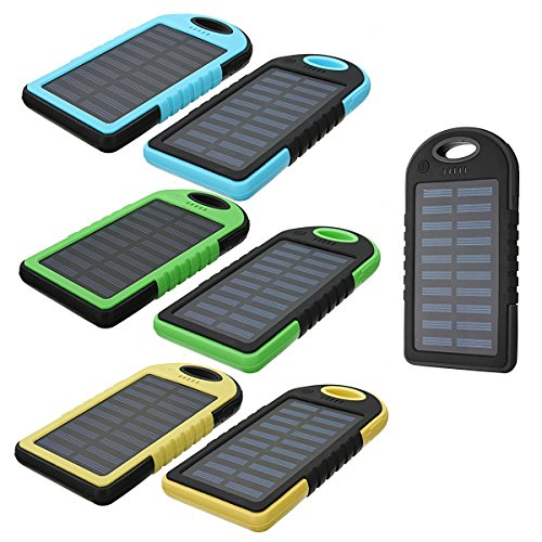 Double Mantel - CoCocina 5000mAh External Solar Power Bank Battery Charger Dual USB With Charging Cable For Mobile Phone -Blue