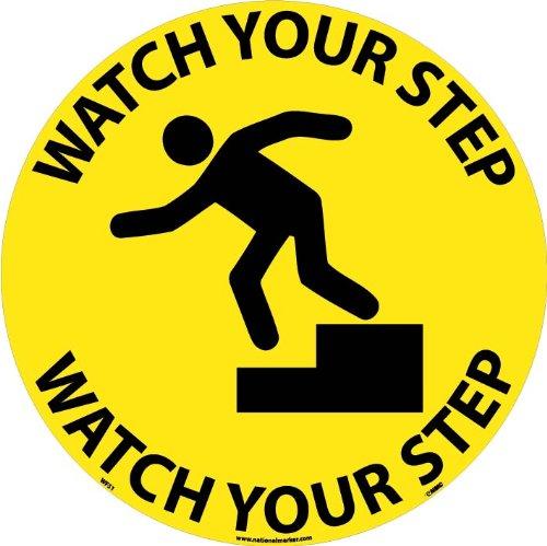 "UPC 887481098227, NMC WFS1 Walk On Floor Sign with Graphic, ""WATCH YOUR STEP"", 17"" Diameter, Pressure Sensitive Vinyl, Black On Yellow"