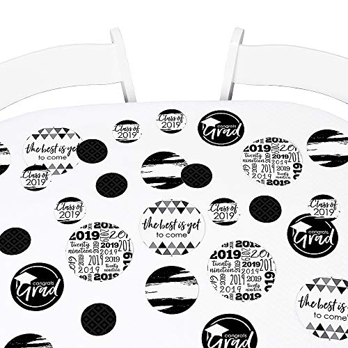 Black & White Grad - Best is Yet to Come - 2019 Graduation Party Giant Circle Confetti - Black and White Grad Party Decorations - Large Confetti 27 Count