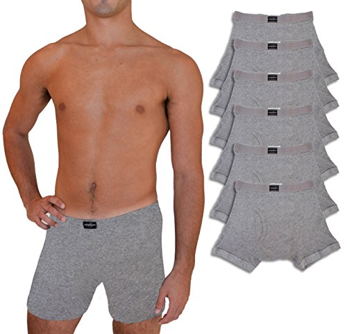 (Andrew Scott Big & Tall Men's 6 Pack Cotton Boxer Briefs (4XL, 6 Pack - Heather Gray))