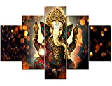 House Decorations Living Room Canvas Printed Wall Art Posters and Prints 5 Pieces/Panel Wall Decor Lord Ganesha Painting,Modern Home Decor Pictures-with Wooden Frame Ready to Hang(60''Wx40''H)