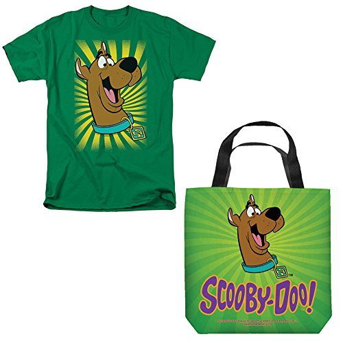 (Set) Scooby Doo Polyester Tote Bag & Scooby Face Graphic T-Shirt 2X - (Nostalgic Handled)