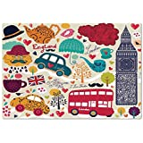 Large Wall Mural Sticker [ London,Colorful Local Symbols Painting Red Bus Big Ben Tea Pot Cup Umbrella and Retro Cab,Multicolor ] Self-Adhesive Vinyl Wallpaper/Removable Modern Decorating Wall Art