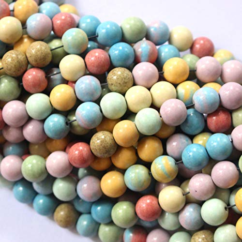 Tacool Natural Gemstone Beads Round 8mm 6mm for DIY Necklace Jewelry Making Beads (Rainbow Agate, 8mm)