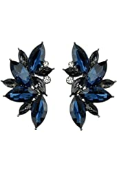 Ginasy Luxury Leaves Shape Glass Cluster Crystal Teardrop Flower Design Stud Earrings