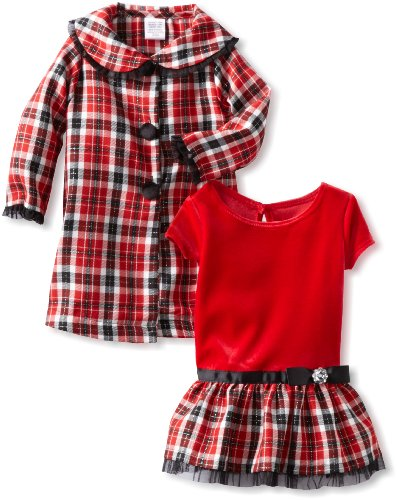 Youngland Baby Girls' Red Plaid Coat Set