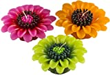Handmade Dahlia Flower Floating Candles (Set of 3 - 1 Pink, 1 Green, 1 Orange)