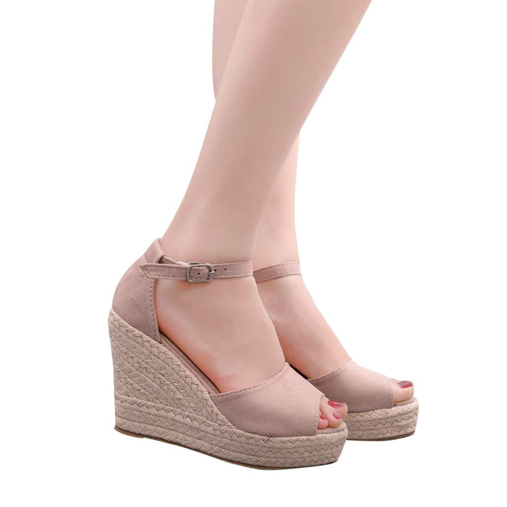 SSYUNO Womens Summer Bohemian Espadrille Platform Wedge Sandals Ankle Strap Open Toe Beach Dress Comfy Shoes Pink by SSYUNO (Image #2)