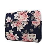 Image of Canvaslife White Rose Pattern 13 inch Canvas laptop sleeve with pocket 13 inch 13.3 inch laptop case macbook air 13 case macbook pro 13 sleeve