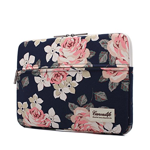 Canvaslife White Rose Pattern 13 inch Canvas laptop sleeve with pocket 13 inch 13.3 inch laptop case macbook air 13 case macbook pro 13 (Box Notebook)