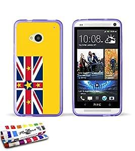 Carcasa Flexible Ultra-Slim HTC ONE de exclusivo motivo [Bandera Niue] [Violeta] de MUZZANO  + ESTILETE y PAÑO MUZZANO REGALADOS - La Protección Antigolpes ULTIMA, ELEGANTE Y DURADERA para su HTC ONE
