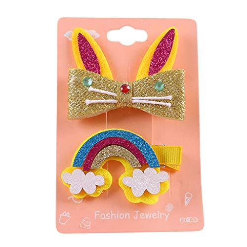 - Newmao Toddler girls Cartoon Rainbow Hairclip Cut Casual Hairpin Barrette Set (Multicolour C)