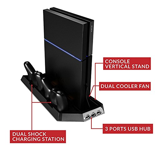 PS4 Cooler Pad for Standard PS4 Vertical Stand with Air Cooling Fan and USB HUB Port | Safe Premium ABS PS4 Stand with Dual Charging Stations for DualShock Controllers | Black