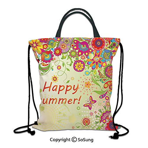 Floral 3D Print Drawstring Bag String Backpack,Blossoms Bud Flowers Leaves Paisley Ethnic Motifs with Hello Summer Quote Image,for Travel Gym School Beach Shopping,Multicolor - Bottle Bag Paisley Park