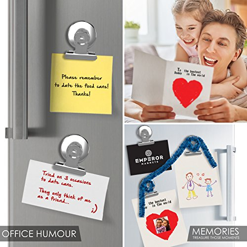 Emperor Magnets - Strong Refrigerator Magnets | Mini Powerful Fridge Magnets | Small Round Kitchen Magnet Hook Clips | Heavy Duty Metal Silver Finish Ideal For Office Whiteboard, Dry Erase Board by Emperor Magnets (Image #4)