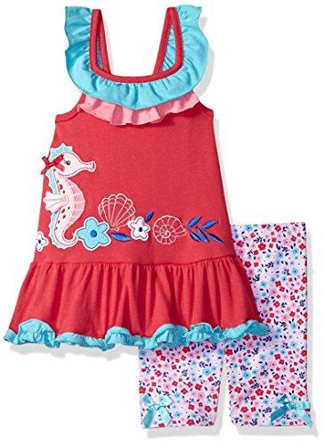 Nannette Girls' Toddler' 2 Piece Playwear Bike Short Set, Bubble Gum Pink, 2T