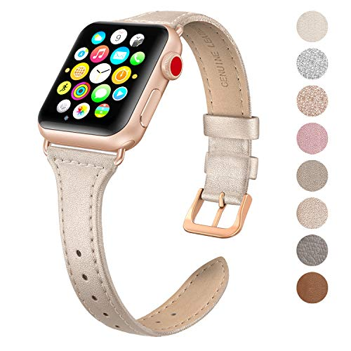 SWEES Leather Band Compatible Apple Watch iWatch 38mm 40mm, Slim Thin Dressy Elegant Genuine Leather Strap Compatible iWatch Series 4 Series 3 Series 2 Series 1 Sport Edition Women, Champagne ()