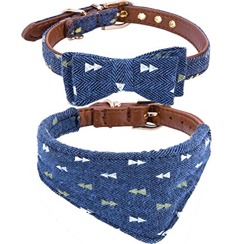 (StrawberryEC Puppy Collars for Small Dogs Adjustable Puppy Id Buckle Collar Leather. Cute Plaid Bandana Dog Collar)