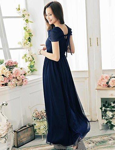 PU&PU Robe Aux femmes Swing / Deux Pièces Vintage / Soirée / Décontracté / Plage , Couleur Pleine Col en V Maxi Dentelle / Maille / Elastique , royal blue-xl , royal blue-xl