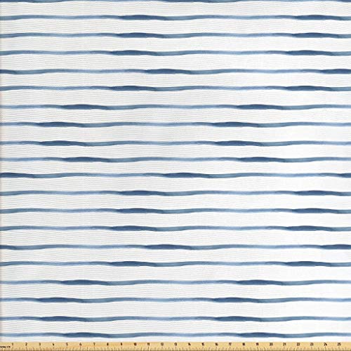 Ambesonne Harbour Stripe Fabric by The Yard, Abstract Brushstroke Nautical Ocean Horizontal Lines Soft Picture, Decorative Fabric for Upholstery and Home Accents, 5 Yards, Night Blue White