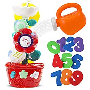 STEAM Life Bath Toys for Babies and Toddlers | Waterfall Bathtub Toy Bundle Comes with Toy Watering Can and Foam Numbers 1 - 9 | Waterfall Flower Baby Bath Toy for Girls and Boys Ages 0 - 4 |