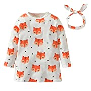 Derouetkia Baby Girls Long Sleeve Fox Print Dress Clothes Outfit Sets with Headband (60(0-6 Months))