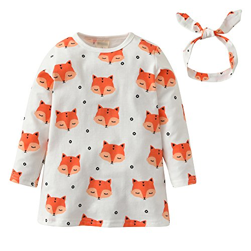 Baby Girls Long Sleeve Fox Print Dress Clothes Outfit Sets With Headband (60(0-6 Months))