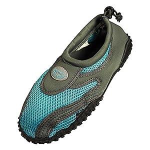 Womens Water Shoes Aqua Socks Pool Beach ,Yoga,Dance and Exercise (6, Grey/Blue 1185L)