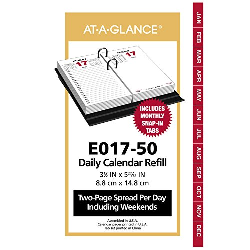 "AT-A-GLANCE Daily Desk Calendar Refill, January 2018 - December 2018, 3-1/2"" x 6"", Loose Leaf (E01750)"