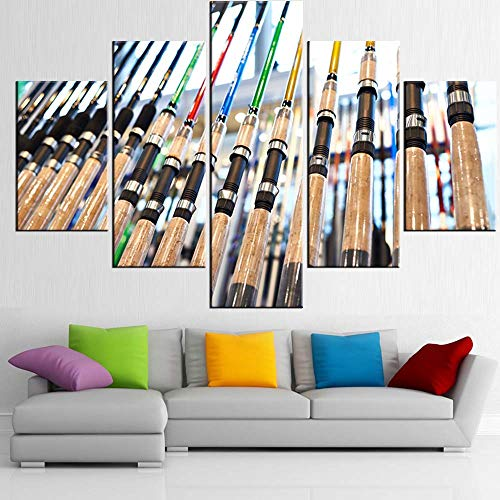 TUMOVO Wall Paintings for Living Room Fishing Spinnings in The Store Pictures Multi Piece Prints Wall Art on Canvas Contemporary Artwork Giclee House Decor Framed Stretched Ready to Hang(60''Wx40''H)
