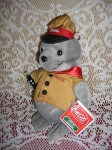 1998 Coca-cola Collectible Grey Seal Plush Bean Bag