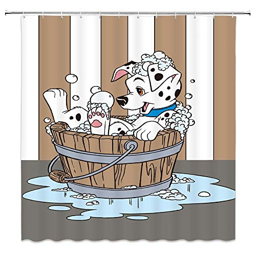 AMHNF Bathing Dog Spotted Dog Shower Curtain Cartoon Cute Brown White Striped Child Kids Bathroom Decor Accessories Simple Personality Polyester Fabric Waterproof Curtains 70x70inches